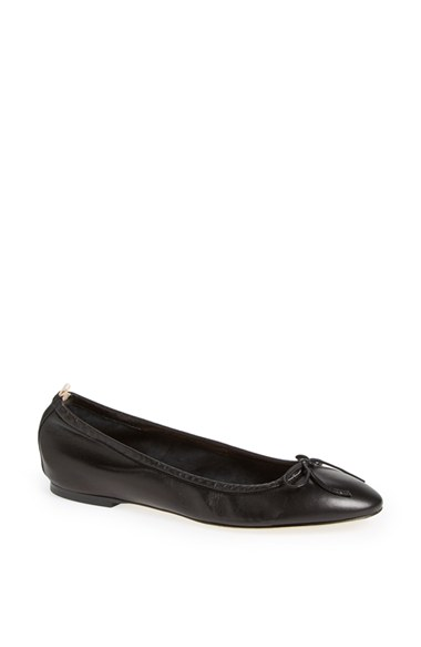 Sjp By Sarah Jessica Parker Gelsey Bow Leather Ballerina Flat, Black In Black Nappa
