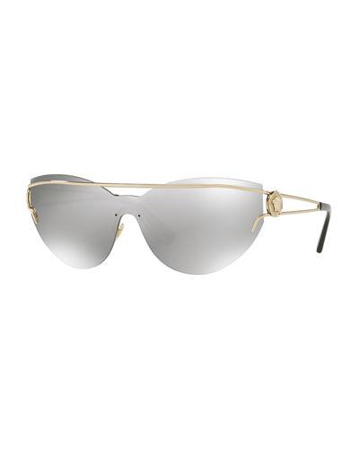 f6441a725f Versace Rock Icons Medusa 138Mm Rimless Shield Sunglasses - Gold  Grey  Mirror