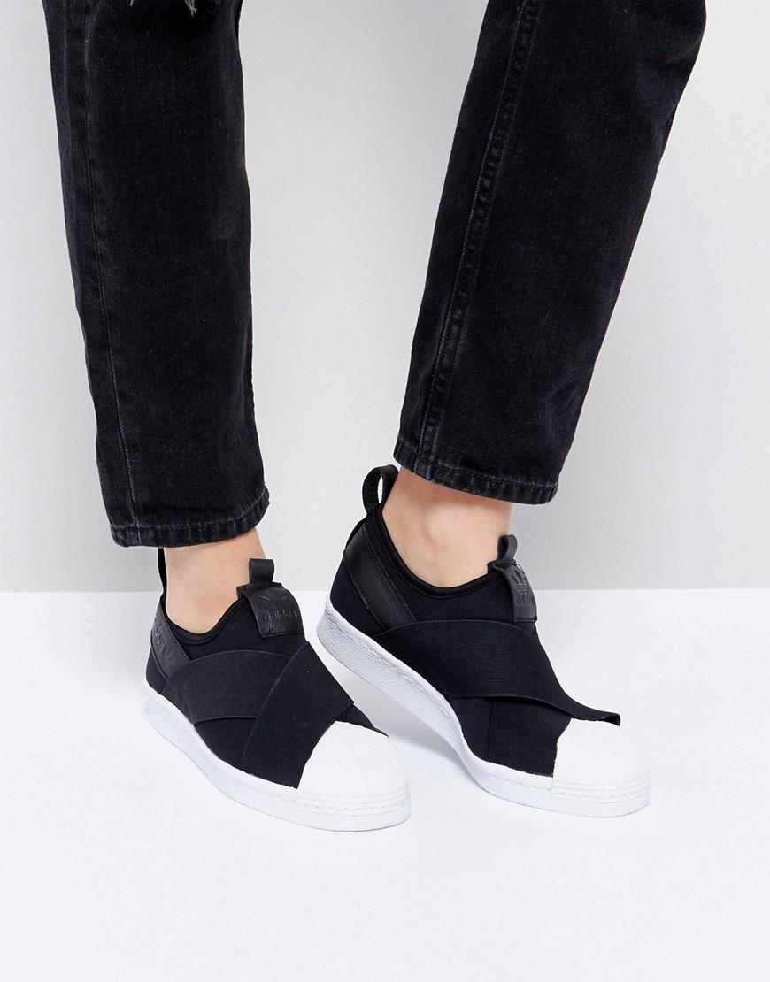 pretty nice 01db2 ff18e Adidas Originals Black Superstar Slip On Sneakers With Bold Strap - Black