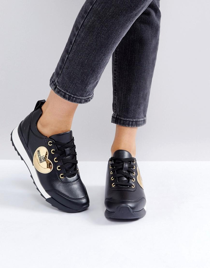 9c1ff65e228 Love Moschino Gold Heart Sneakers - Gold