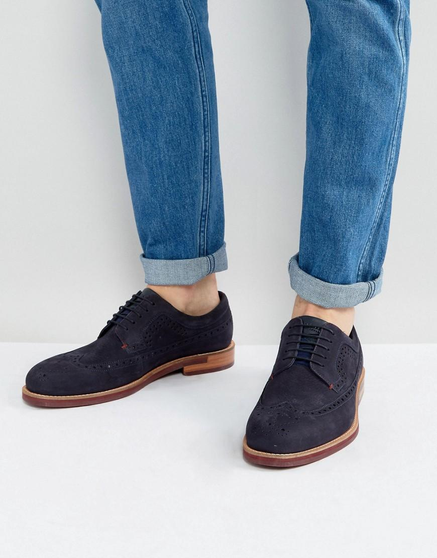 Ted Baker Delanis Suede Brogue Shoes In Navy - Navy