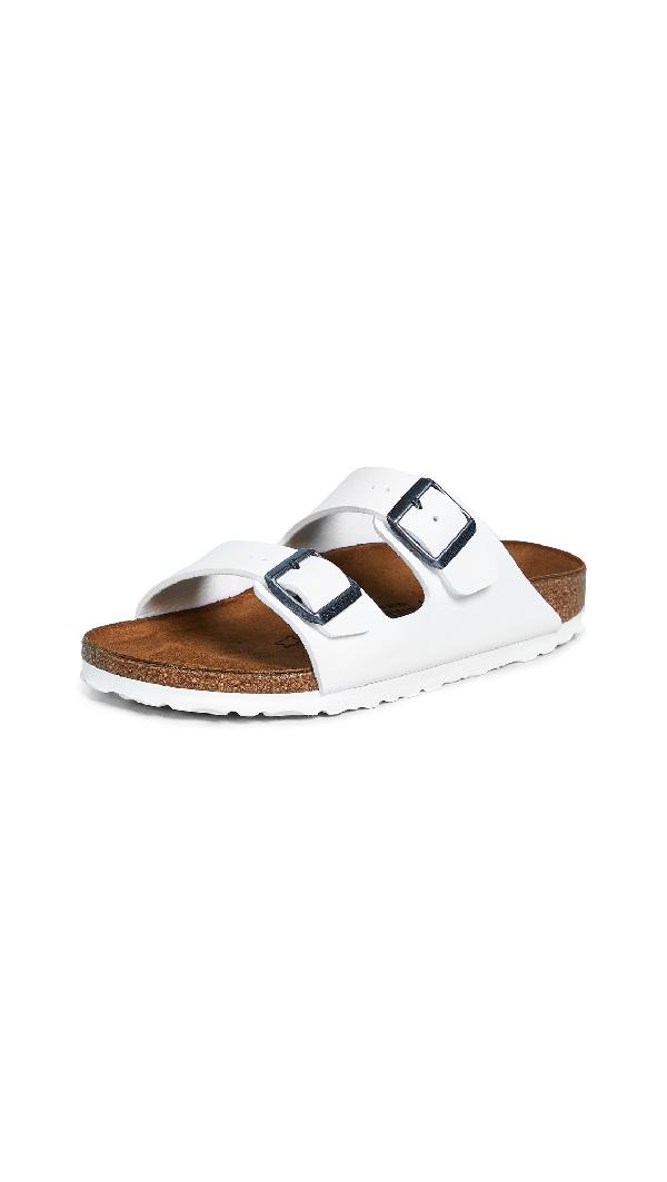 483377cdd Birkenstock Arizona Narrow Fit Shiny Snake Cream Flat Sandals - Cream In  White