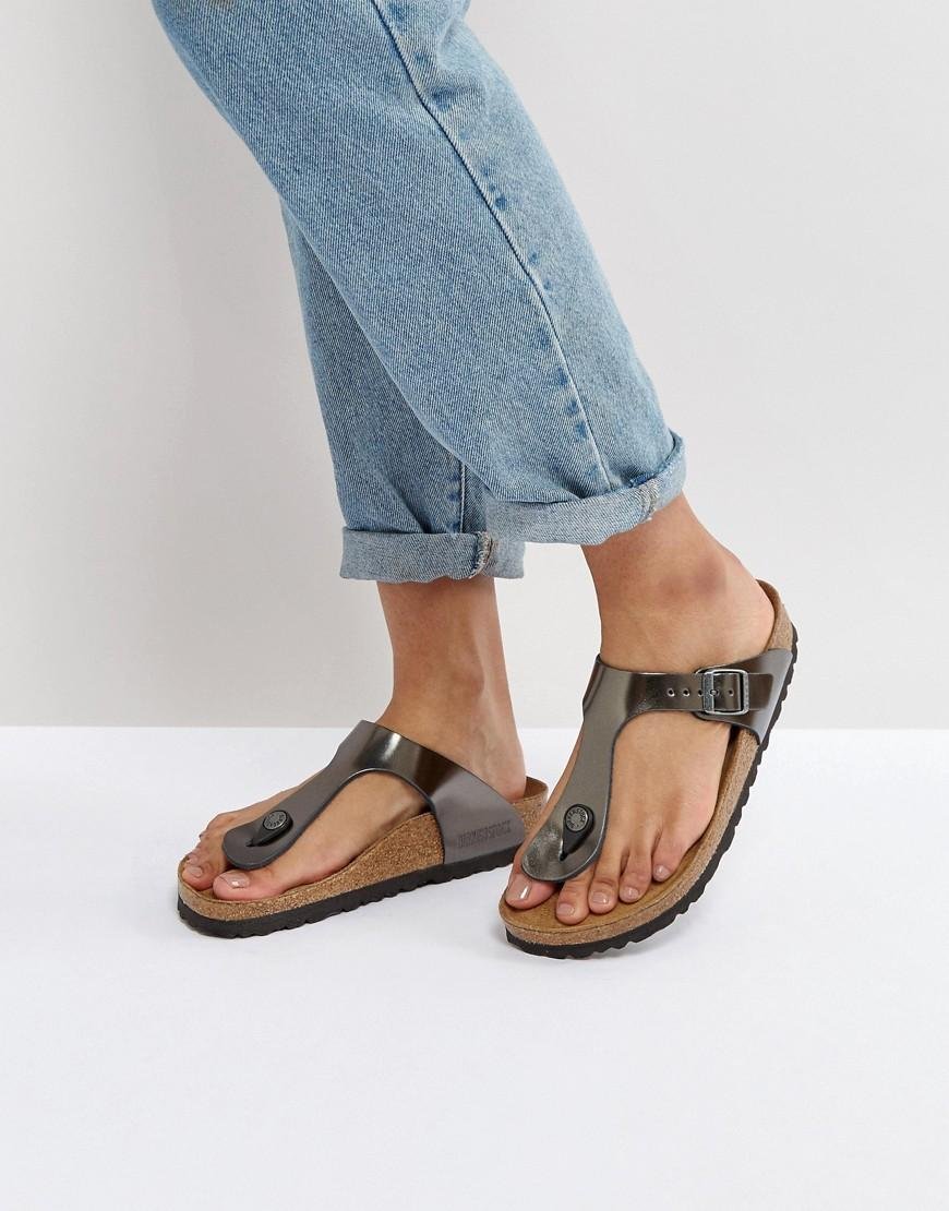 b2a03cadcd7 Birkenstock Gizeh Metallic Anthracite Leather Narrow Fit Flat Sandals -  Silver