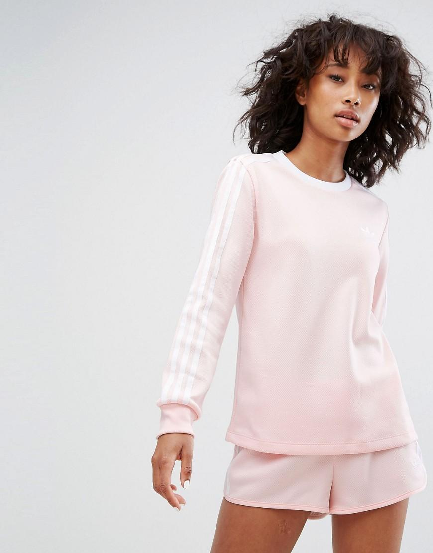 9c8e9588d3d Adidas Originals Adidas Three Stripe Long Sleeve Top In Pale Pink - Pink
