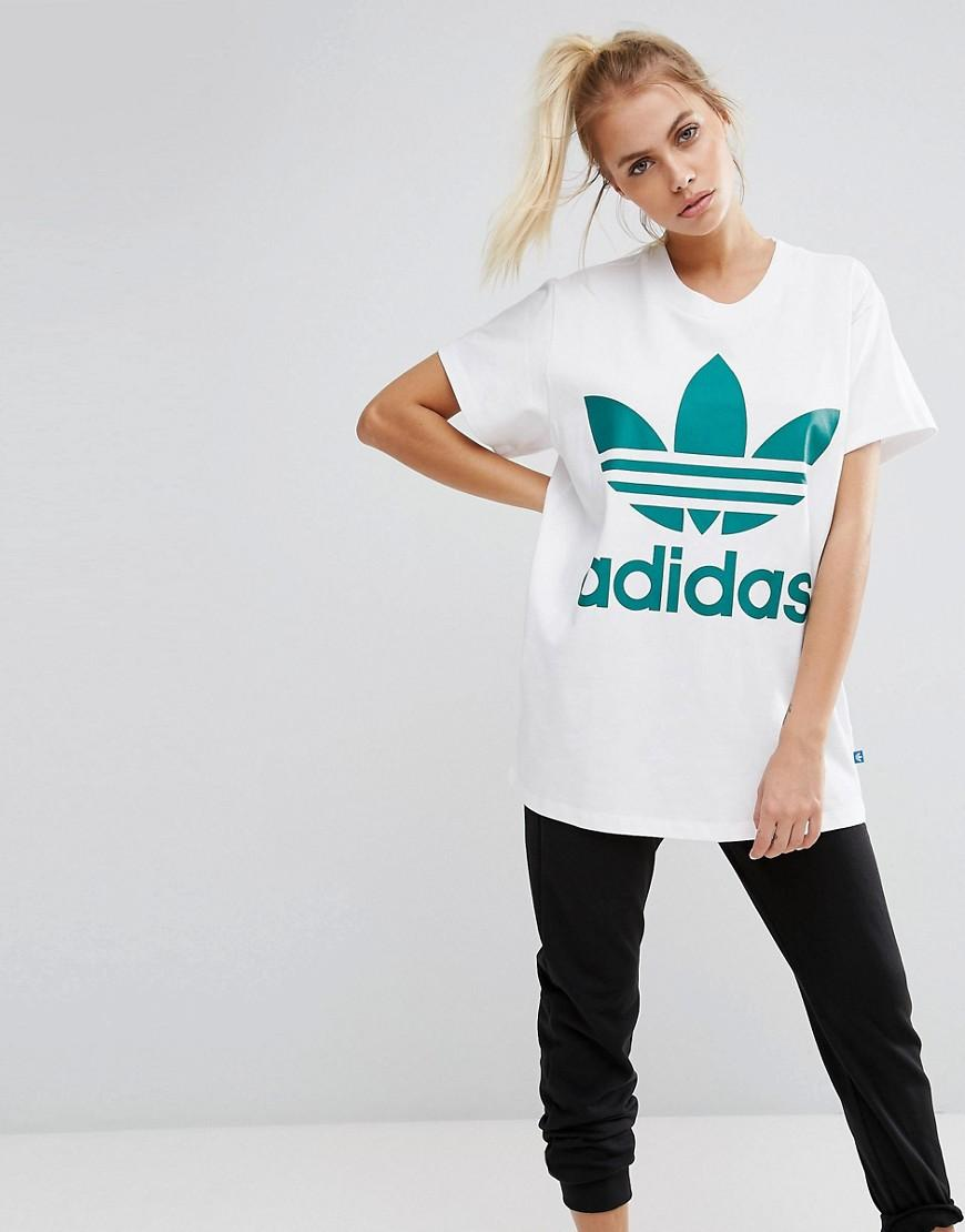 79f26522 Adidas Originals Big Trefoil Tee In White And Green - White | ModeSens