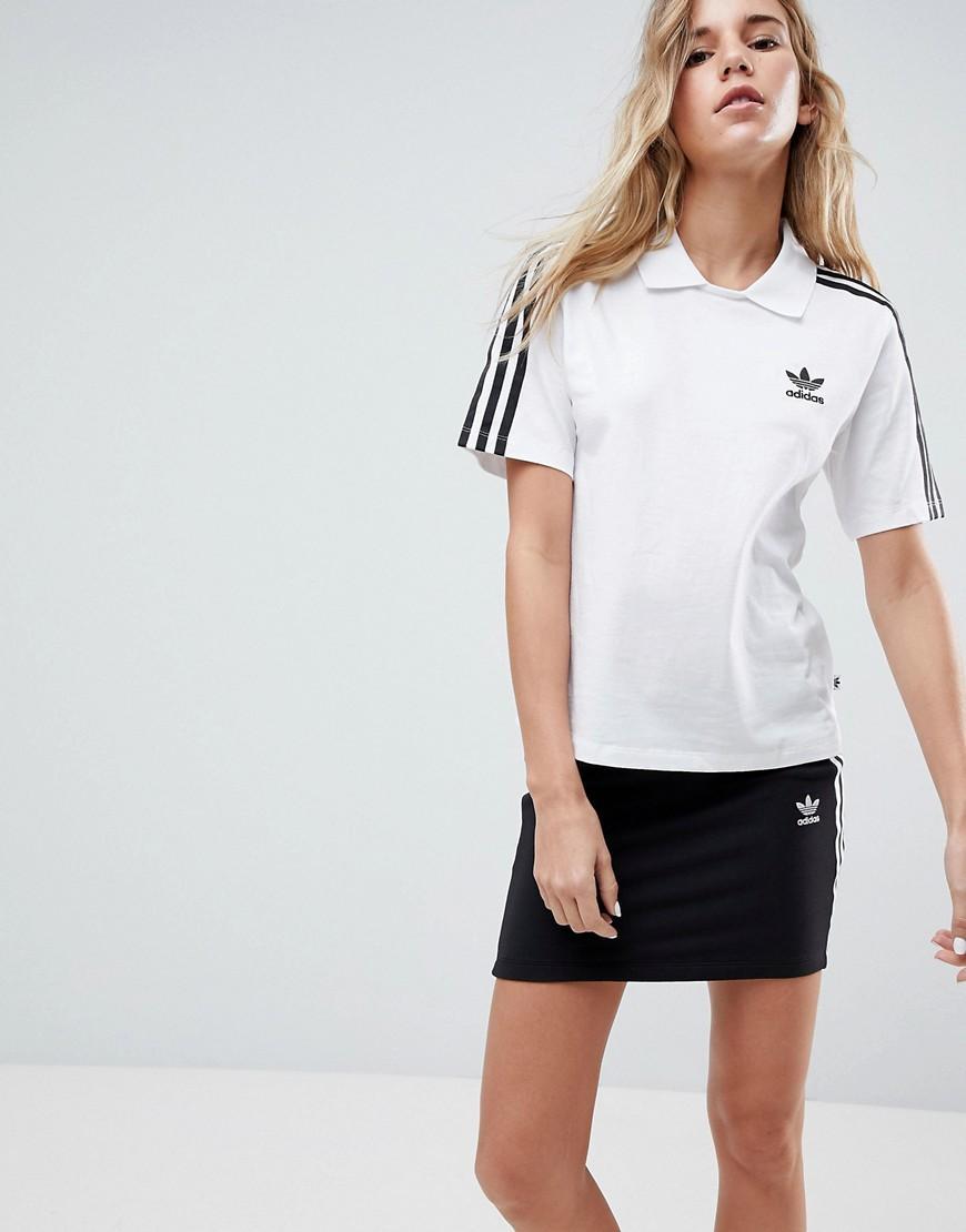 ee6cef3a5 Adidas Originals Originals White Three Stripe Polo T-Shirt - White ...
