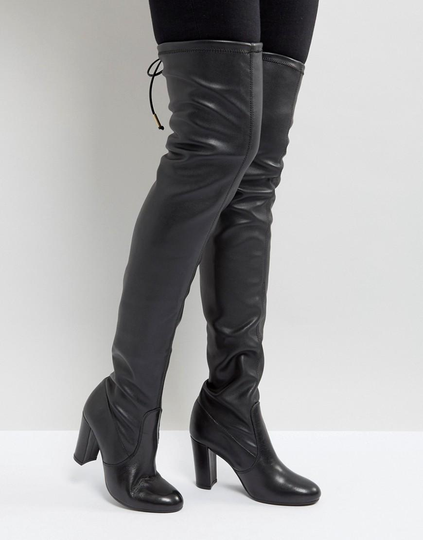 Sybil Leather Over Knee Boots Black