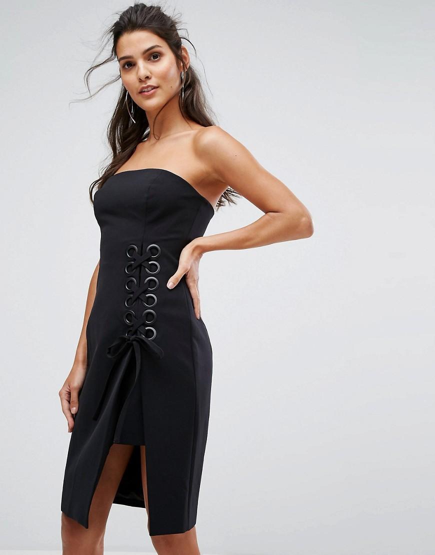Finders Keepers Finders Unbelievers Bandeau Dress With Lattice Tie - Black