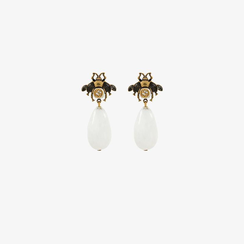 f0b5d5a4a Gucci Bee Drop Faux Pearl Earrings In Metallic | ModeSens