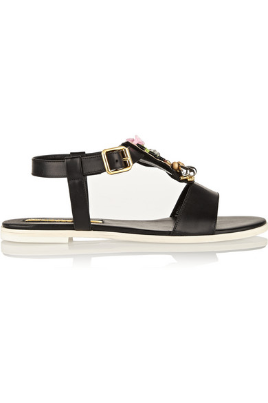Rupert Sanderson Cara Frida Embellished Leather Sandals In Black
