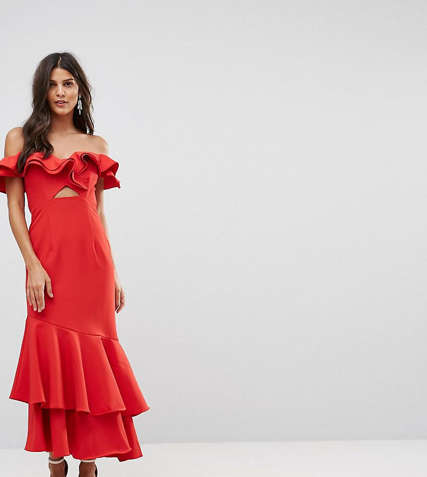 12f3d4a6456 Jarlo Ruffle Bardot Maxi Dress With Cut Out - Red