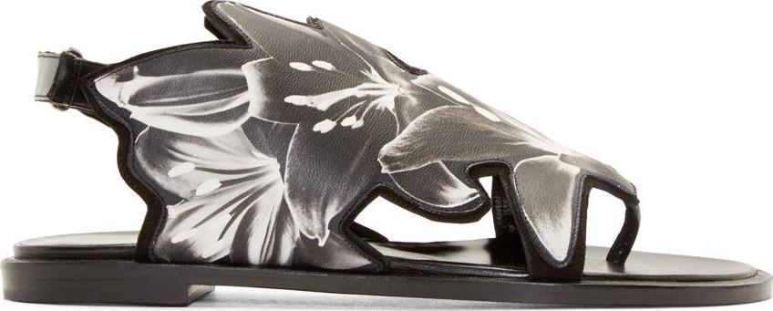 Pierre Hardy Black Lily Flat Sandals