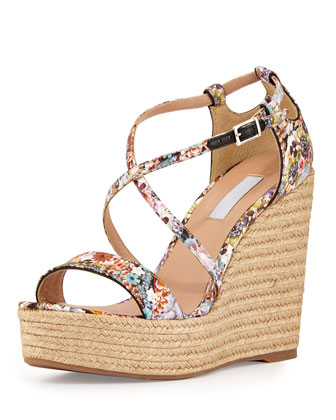 Tabitha Simmons Jenny' Dizzy Floral Print Wedge Espadrilles In Multi Colors