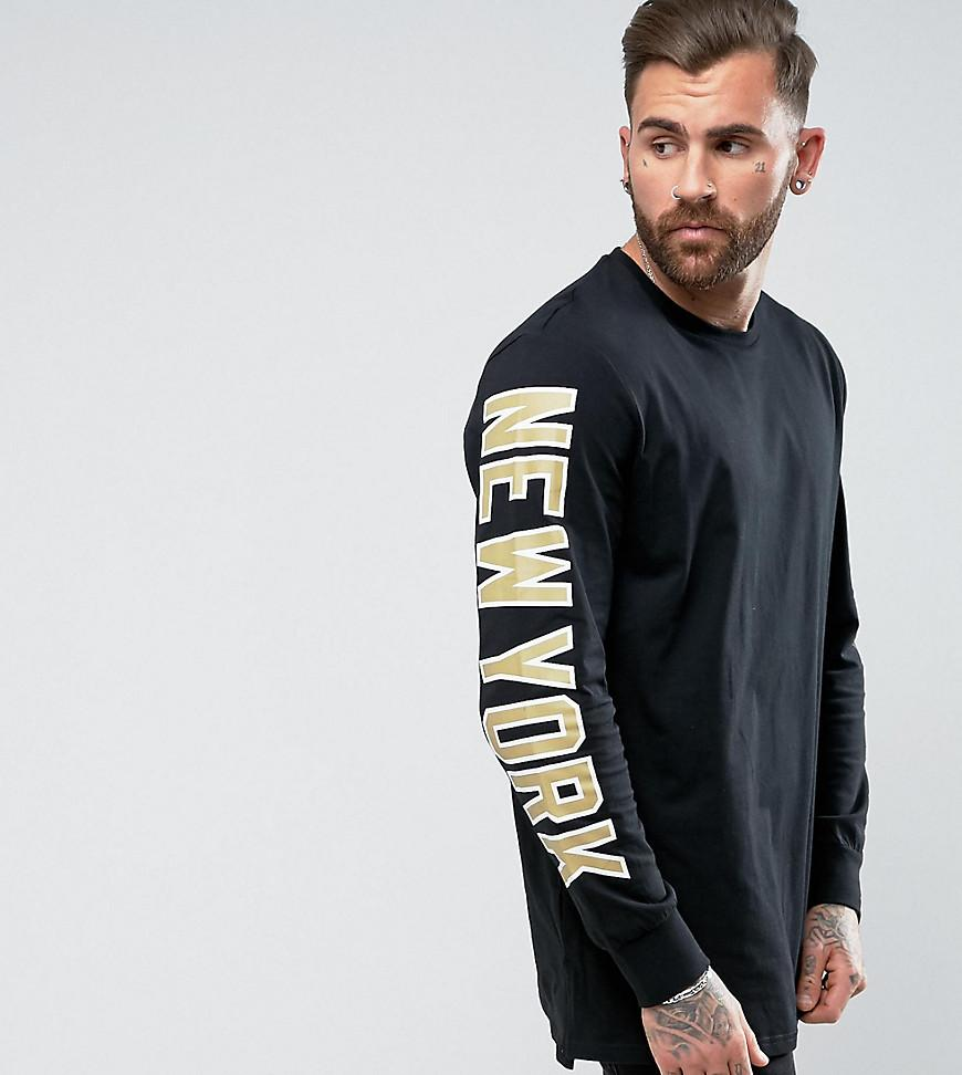 eebaaa1a Majestic Yankees Long Sleeve T-Shirt With Sleeve Print Exclusive To Asos -  Black