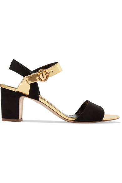 Rupert Sanderson 'Pythia' Suede & Metallic Leather Ankle Strap Sandal (Women) In Black