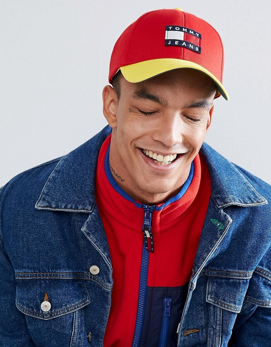 e91c8d15 Tommy Jeans Capsule 90's Color Block Baseball Cap In Red/Yellow - Red