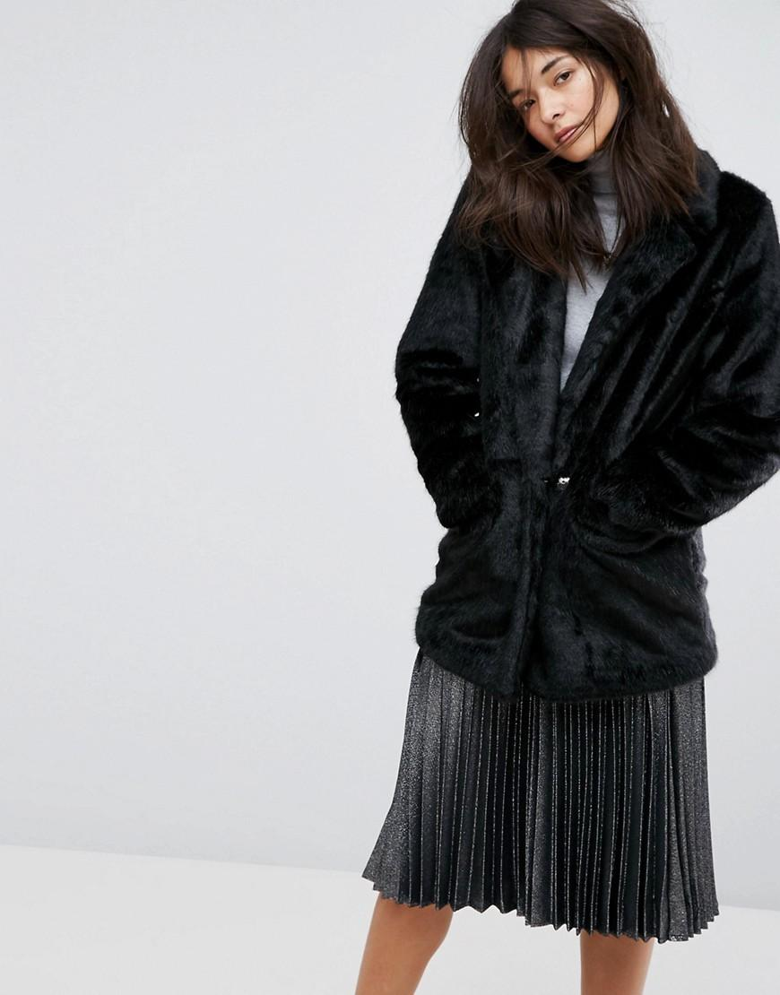 e3f586dcbde5 Urbancode Urban Code Oversized Faux Fur Coat - Black | ModeSens