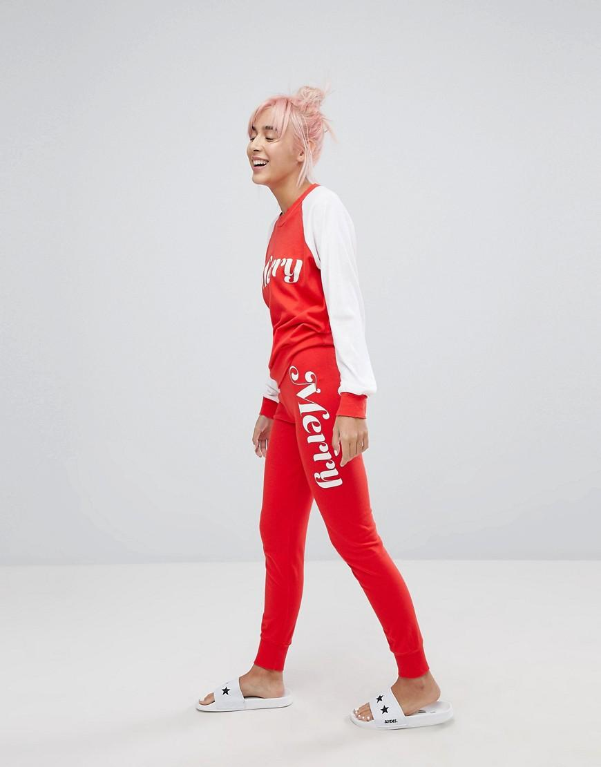 Wildfox Merry Print Lounge Jogger - Red