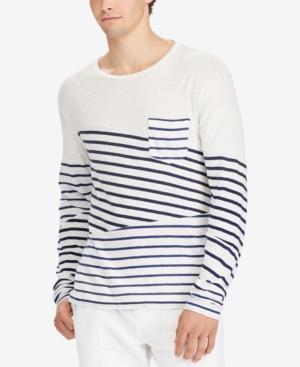 98fc80cd2b46 Polo Ralph Lauren Men's Custom Slim Fit Striped Long-Sleeve T-Shirt In  Mariner