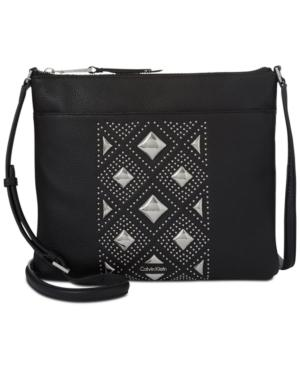 Calvin Klein Pyramid Studded Medium Crossbody In Black All Over Stud