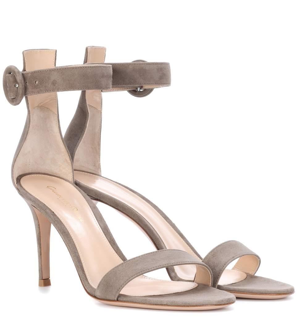 Gianvito Rossi Portofino 85 Suede Sandals In Grey