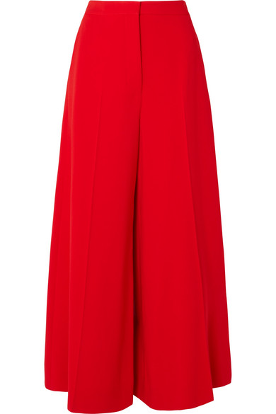 Stella Mccartney Wide-Leg Stretch-Cady Trousers In Red