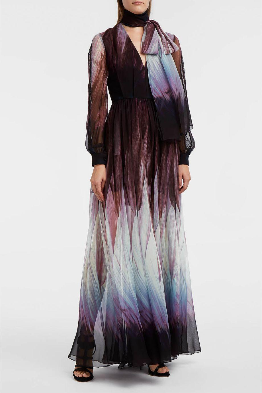 Elie Saab Printed Silk-Blend Georgette Gown