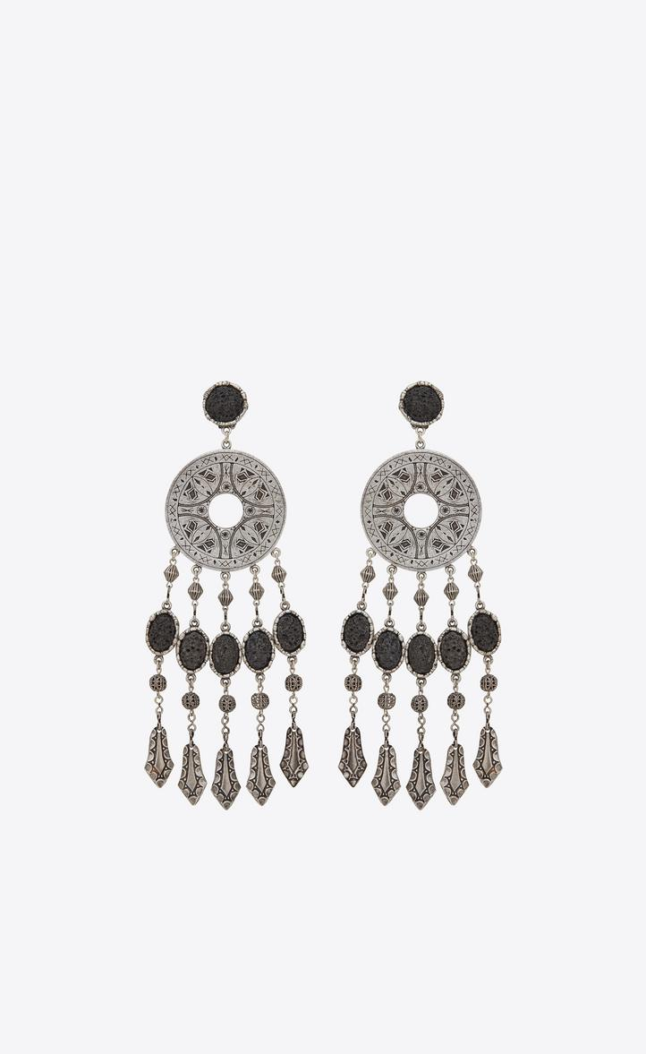 284b73c6231 Saint Laurent Marrakech Disc Earrings In Tin And Silver-Colored Brass In  Metallic