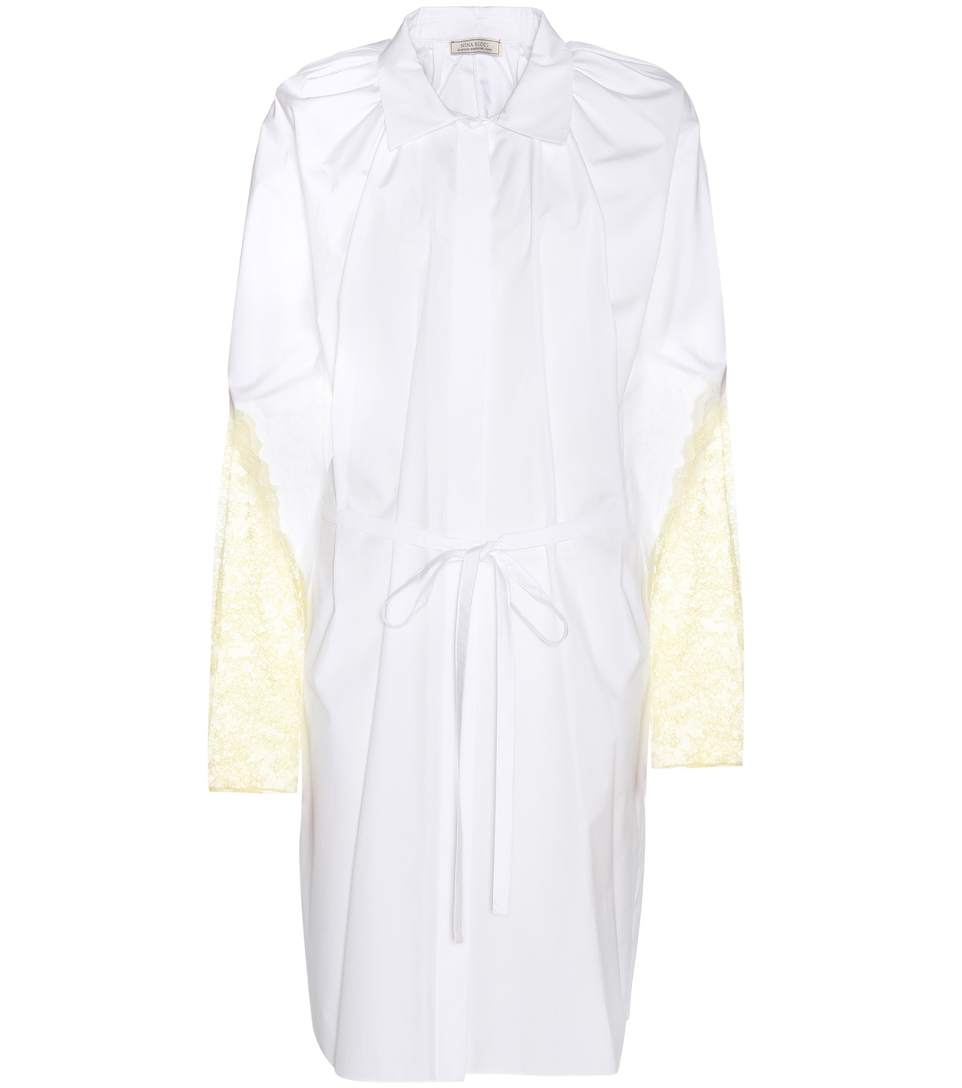 Nina Ricci Lace-trimmed Cotton Shirt Dress In White