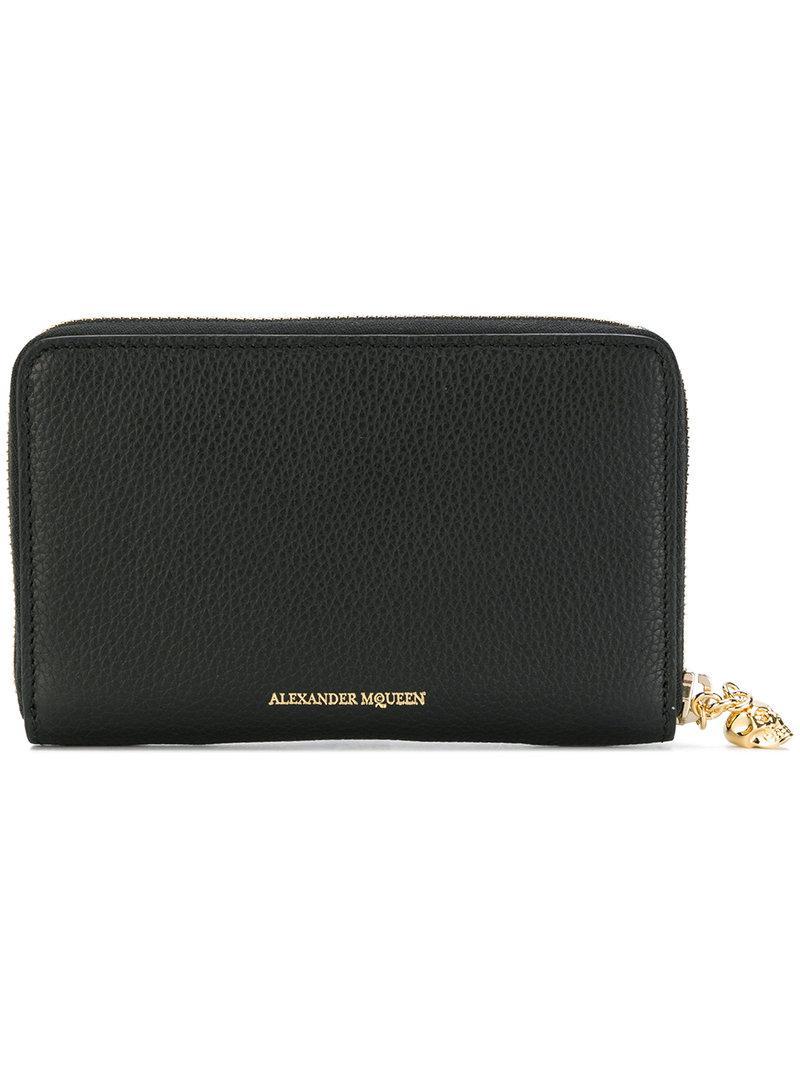 Alexander Mcqueen Zip-Around Continental Grained-Leather Wallet In Black