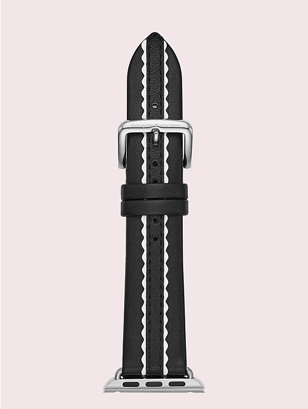 Kate Spade Black Scallop Leather 38/40mm Apple Watch® Strap In Black/white