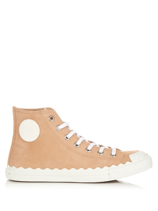 Chlo 201 Scalloped Suede High Top Sneaker Reef Shell In Pink