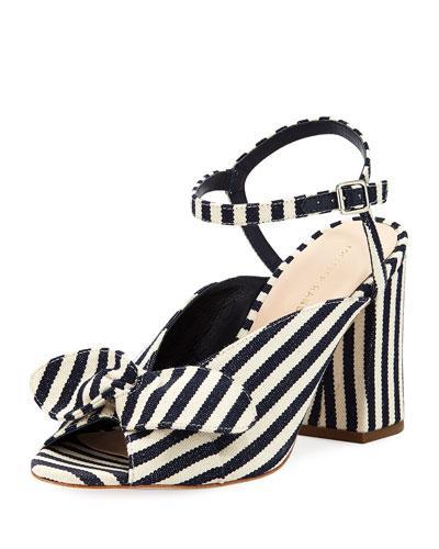ee0962255a93 Loeffler Randall Leigh Striped Canvas Block-Heel Sandal In Multi ...