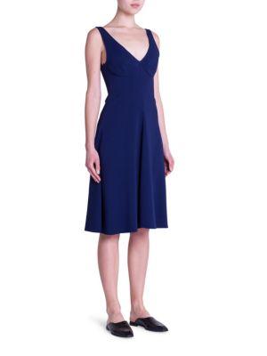Stella Mccartney Cady Stretch Fit-and-flare Dress In Dark Blue