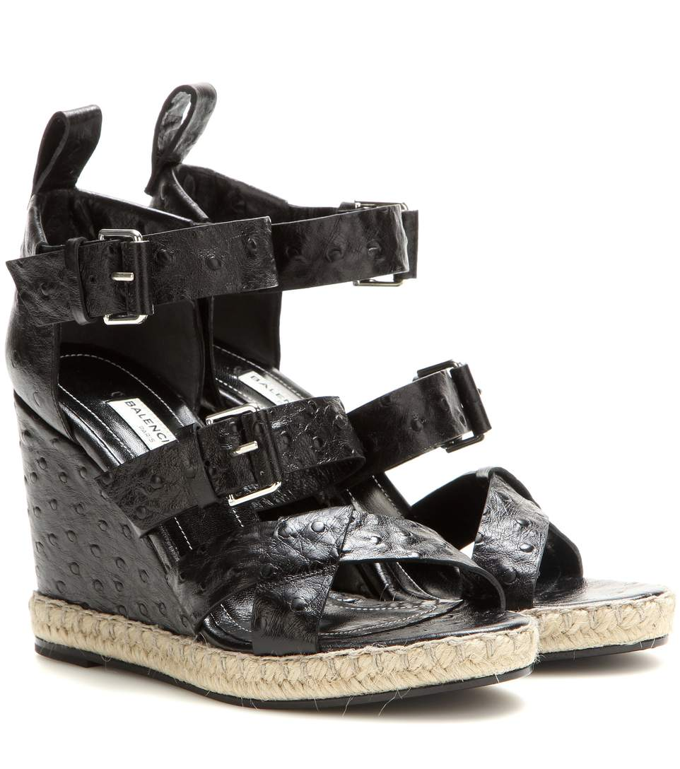 Balenciaga Rope Track Leather Wedge Sandals In Llack