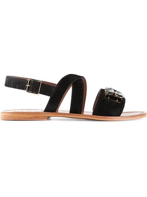 Marni Embellished Calf Hair Sandals In Coal