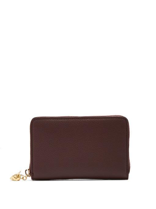 Alexander Mcqueen Zip-Around Continental Grained-Leather Wallet In Burgundy