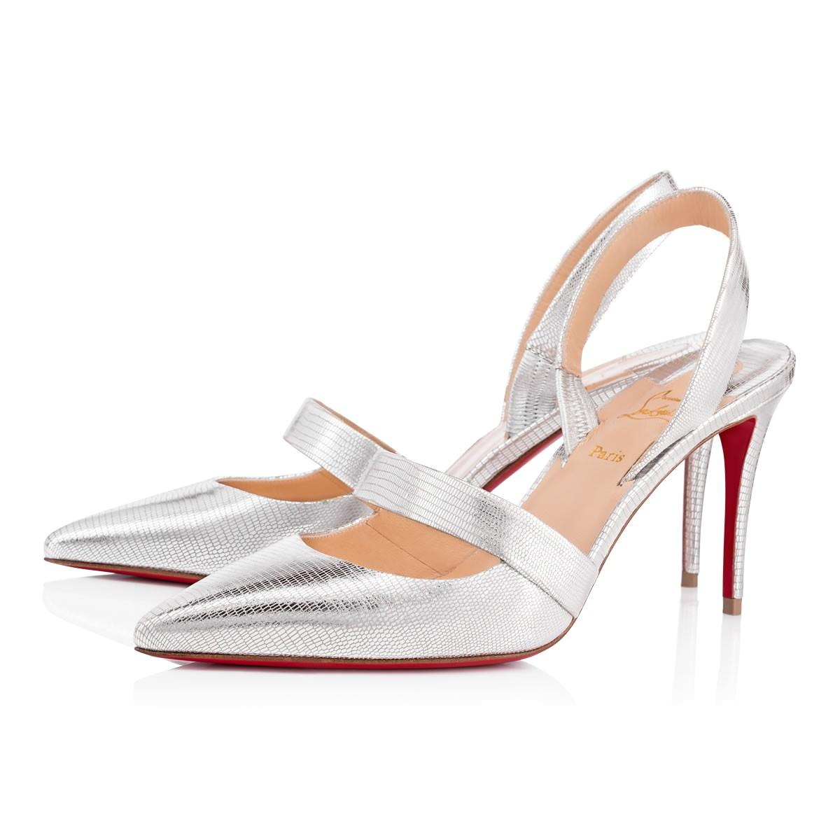 76f1ef54dc23 Christian Louboutin Actina 85 Metallic Lizard-Effect Leather Pumps In Silver