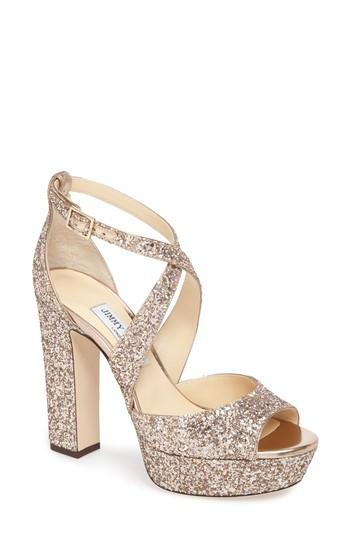 9a4f79f87ec9 Jimmy Choo April Glitter Platform Sandal In Pink
