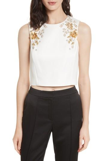 7b061fec4ea83a Ted Baker Embellished Bee Sleeveless Crop Top In Ivory | ModeSens