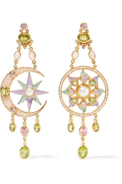 386b1c41e Percossi Papi Gold-Plated And Enamel Multi-Stone Earrings In Green ...