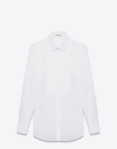 Saint Laurent Classic Evening Shirt In White Cotton Poplin