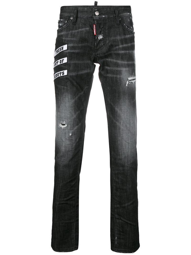 Dsquared2 16cm Skater Scouts Patch  Denim Jeans In Black