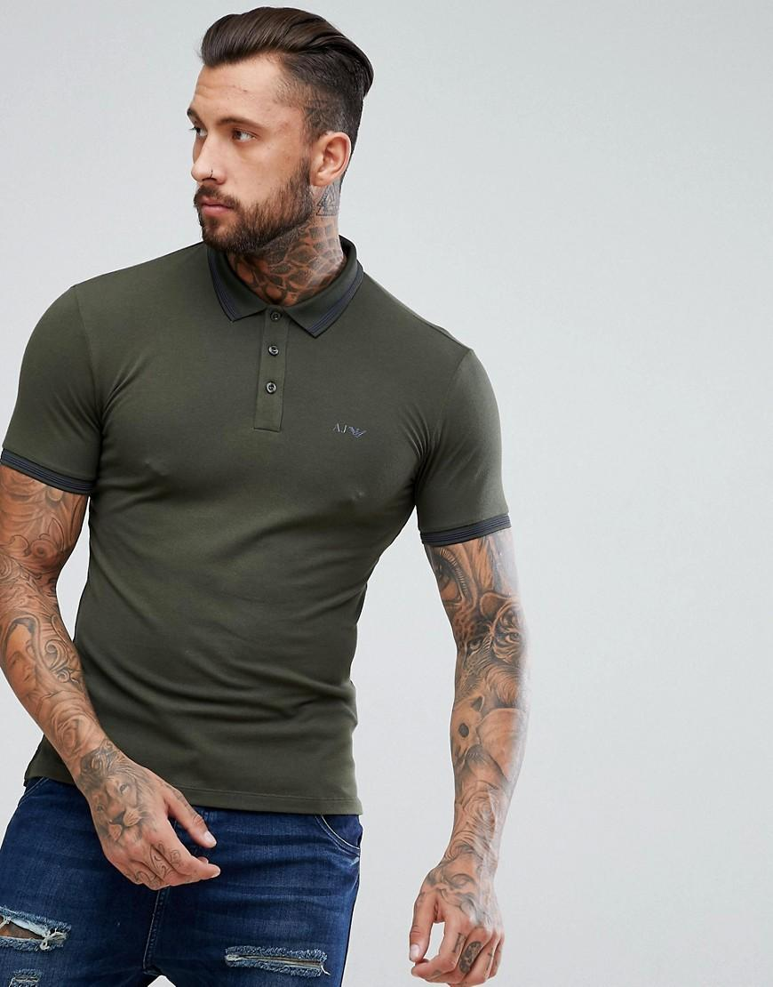 493ce2698 Armani Jeans Slim Fit Logo Tipped Polo Shirt Dark Green - Green ...