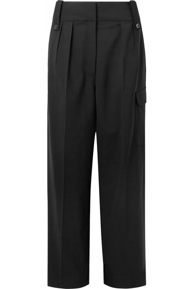 The Row Kiefer High-Waist Wide-Leg Wool-Blend Pants In Black