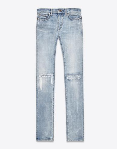 661ce0e5f41 Saint Laurent Original Low Waisted Skinny Jean In Light Blue Vintage Denim  In Navy Blue