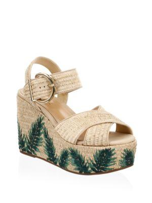1ed7dfff02 Schutz Women's Feray Raffia Platform Wedge Sandals In Natural Tan ...