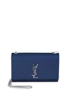 0603cbc80fb Saint Laurent Medium Kate Grained Leather Chain Shoulder Bag In Blue ...