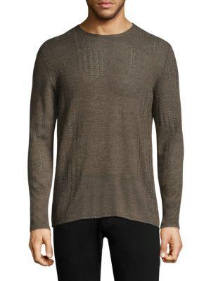 John Varvatos Stitched Crewneck Sweater In Wood Brown