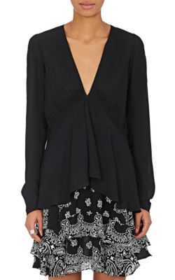 A.L.C Loren Silk Georgette Blouse In Black